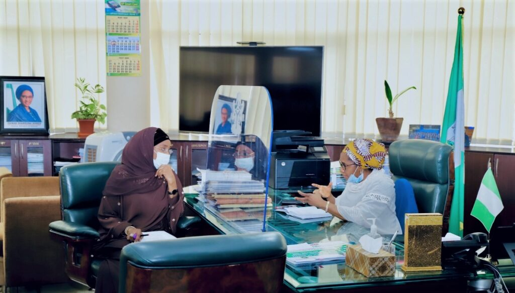 TheHonourable Minister of Humanitarian Affairs, Disaster Management & Social Development, Hajia Sadiya Farouq paid a courtesy visit to the Honourable Minister of Finance, Budget and National Planning, (Dr) Zainab Ahmed in her office today 4