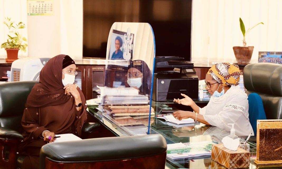 TheHonourable Minister of Humanitarian Affairs, Disaster Management & Social Development, Hajia Sadiya Farouq paid a courtesy visit to the Honourable Minister of Finance, Budget and National Planning, (Dr) Zainab Ahmed in her office today 1