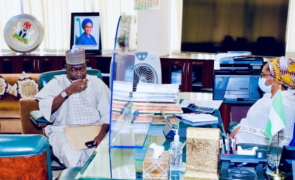 The Honourable Minister of State, Works, Abubakar D. Aliyu paid a visit to the Honourable Minister of Finance, Budget and National Planning, this Morning in her Office. 3