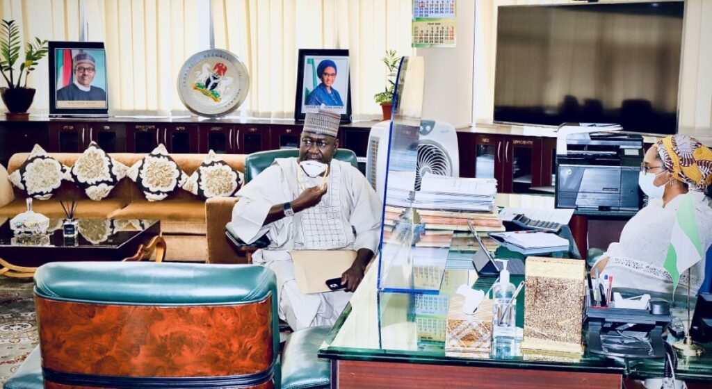 The Honourable Minister of State, Works, Abubakar D. Aliyu paid a visit to the Honourable Minister of Finance, Budget and National Planning, this Morning in her Office. 2