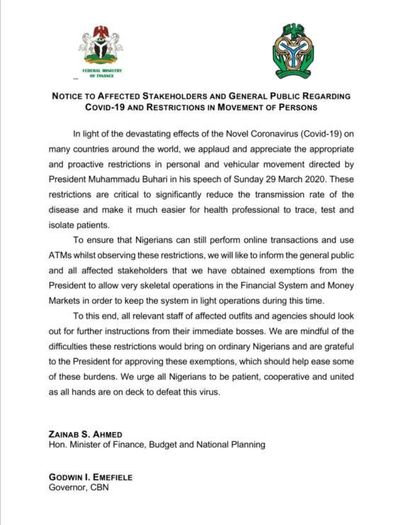 NOTICE TO AFFECTED STAKEHOLDERS AND GENERAL PUBLIC REGARDING COVID-19 AND RESTRICTIONS IN MOVEMENT OF PERSONS