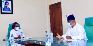 The Hon Minister of Finance Budget and National Planning,Mrs (Dr) Zainab Ahmed listens as Chairman of National Hajji Commission, Alhaji Zikrullah Kunle Hassan explains during his visit to the Hon Minister at her office in Abuja.