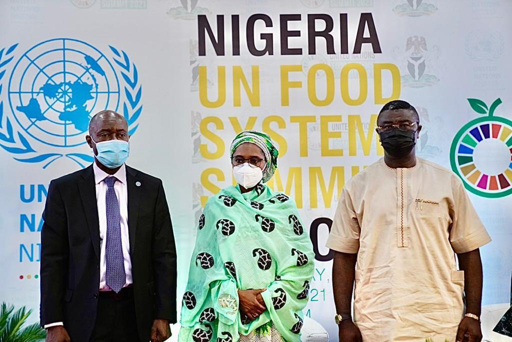 from left, Mr. Fred Kafeero (FAO) Rep, Minister of Finance, Budget and National Planning Dr. Zainab Ahmed, Minister of State, Budget and National Planning Prince. Prince Clem Agba, at the UN Food System Summit today in Abuja.